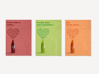 FeelGood Drinks Posters Designs feel good yoga poster design poster juice beverage vector label design packaging design packaging illustration
