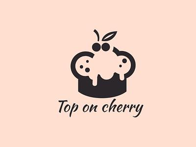 Top on cherry logo designer creator backery sweet delicious make cake food cherry top graphics illustration design art logo design logo