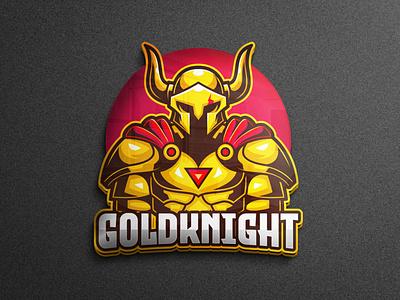 Golden Knight Mascot Character identity brand cartoon pubg mobile pubg mobile legends horn knight logo warrior knight character mascot logo gaming vector esports logo branding twitch illustration game