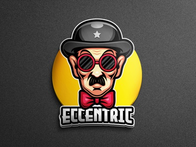 Eccentric people mascot people mascot logos brand identity branding design brand mascot glass hat eccentric comedian logo gaming tshirtdesign character vector esports logo branding twitch illustration game
