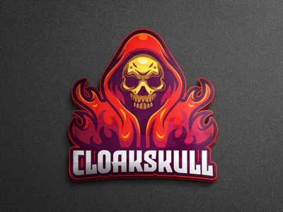 Skull in red cloak character game project game character game mascot game asset mobile legends cloak skull esports logo logo gaming logo game tshirtdesign design character vector esports logo branding twitch illustration game