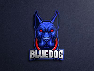Blue dog character mascot logo mascot brand mobile game animal logo security wild animal logo gaming tshirtdesign vector esports logo branding twitch illustration game character design character pitbull