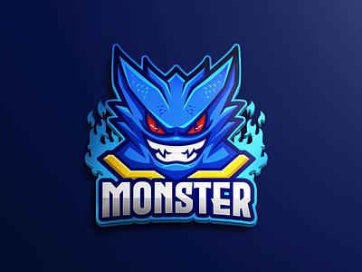 Blue Monster Character Logo twitch brand comic cildren book book cartoon illustration game assets logos esports anime animation asset game asset cartoon mascot chgaracter logo dark angry blue monster