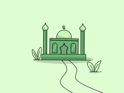 A mosque, line art style