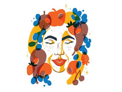 Fruity Gal riso risograph portrait woman illustration fruit