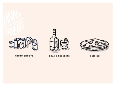 Icons mono weight halftone camera pizza food illustration icon