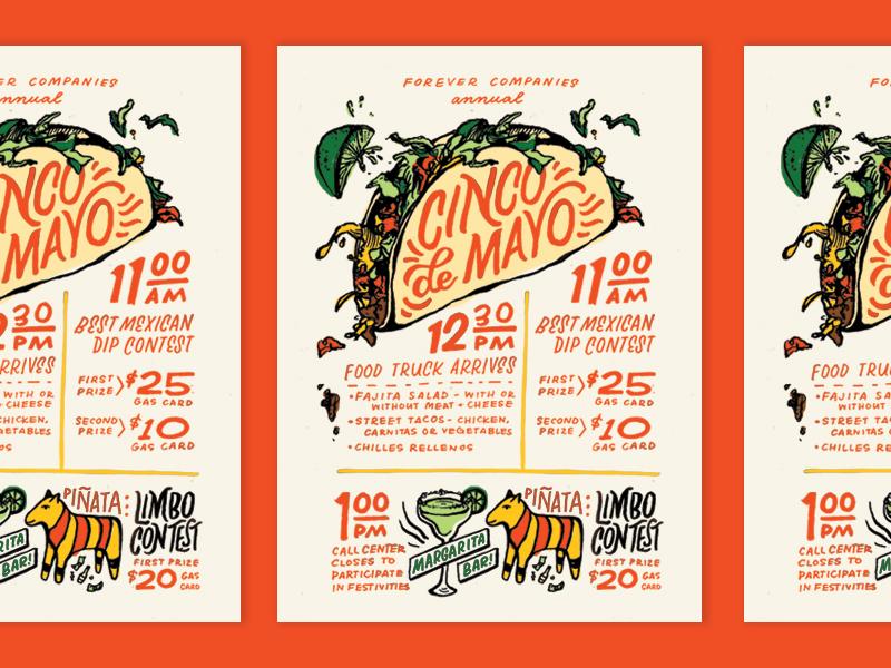 Cinco de Mayo  poster flyer invitation cinco de mayo tacos illustration