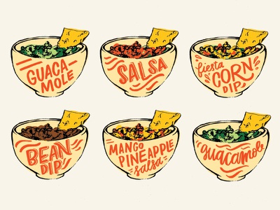 Dips lettering guacamole salsa dip cinco de mayo illustration