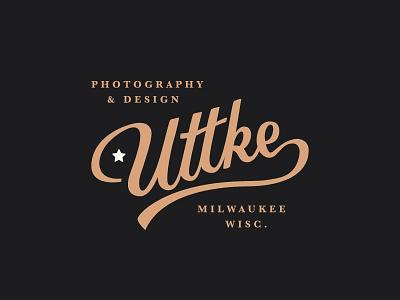 Uttke Logo pt. i script lettering typograhpy vintage branding