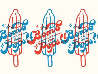 Bomb-Dot-Com Pops illustration lettering summer fourth of july popsicle