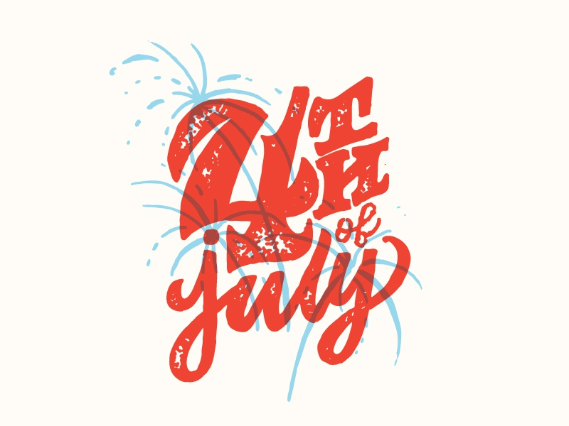 4th illustration texture fireworks summer fourth of july lettering