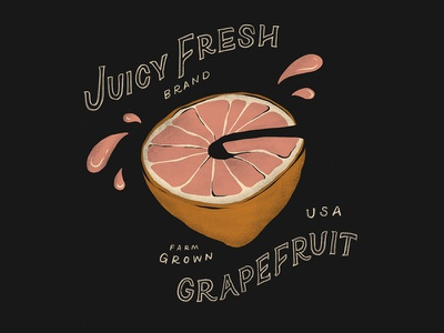 G illustration lettering fruit grapefruit