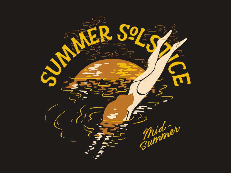 Midsummer | Summer Solstice solstice sunset swimming summer illustration