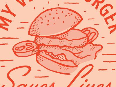 My Veggie Burger Saves Lives vegetarian veggie burger retro illustration
