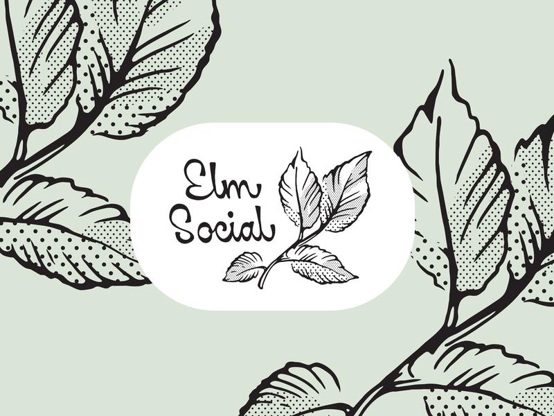 Elm Social identity hand lettering custom lettering custom type logotype elm half tone leaves