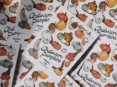 Anderson Pumpkin Pins squash gourds fall enamel pin illustartion autumn pumpkins