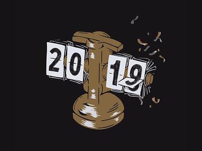 2019 2019 illustration clock new year