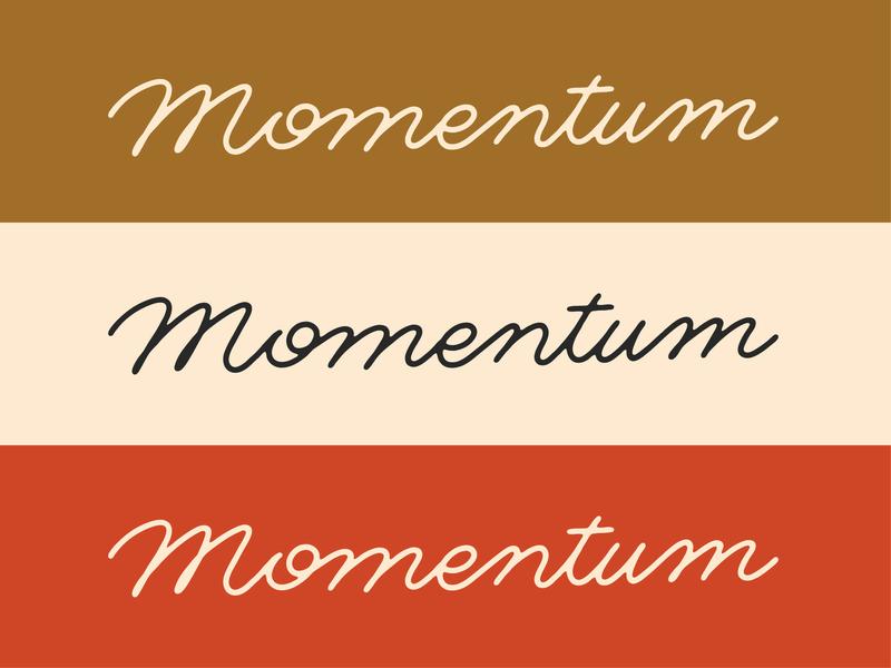 Momentum script lettering typography custom lettering monoline script