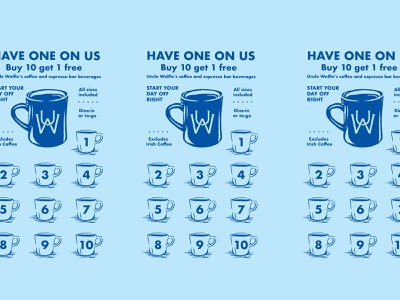 Uncle Wolfies coffee mug illustration punch card coffee