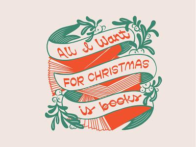 Totes tote bag illustration hand lettering lettering mistletoe christmas books