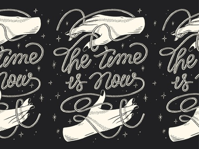 The Time Is Now screenprint poster hand lettering lettering rope hand illustration
