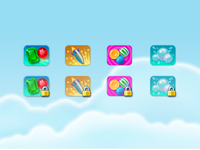 Web App Game Icons elearning education locked gems bubbles candy rocket icons