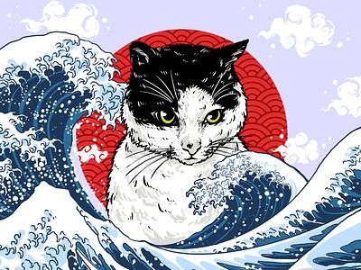 japanese wave and cat monster sky cat wave japanese design logo branding graphic design illustration darkart