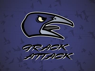 Grack Attack fantasy football grackle bird football sports logo throwback carolina panthers