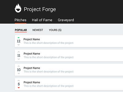 Project Forge flame forge idea ui web material