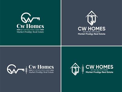 Cw Homes - Real Estate cw w c vector illustrator design logo minimal branding