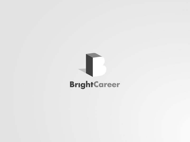 Bright Career mark design grayscale light careers logo branding