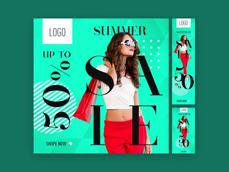 Summer Sale - Display Ad Design display advertising marketing digital marketing digital ad offer clothing model creative design digital advertisment advertising ad fashion summer sale display ad