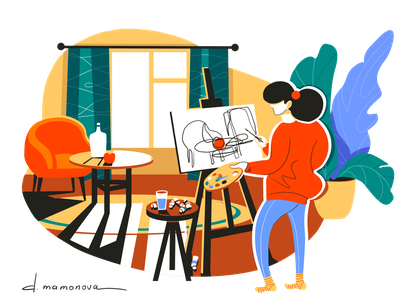 The artist stayhome home girl room interior bright colourful painting painter artist flat illustration flat cartoon character vector illustration art