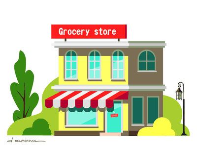 Grocery store colourful building food local window shop grocery store grocery vector adobe illustrator flat illustration art
