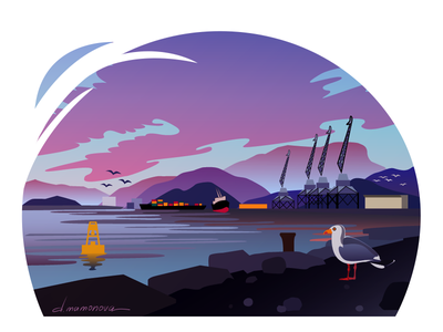 The seaport twilight dusk sunset port sea landscape adobe illustrator colourful flat vector illustration art