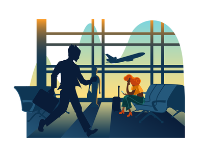The airport 2 delay flight story waiting room airport adobe illustrator colourful vector flat illustration art