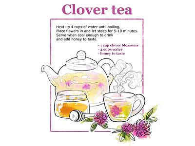 Clover tea recipe page design clover cozy blog recipe tea watercolor colourful illustration art