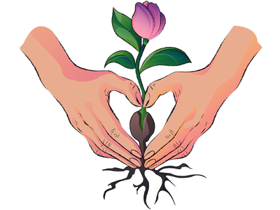 Life coaching flower hands coaching life website branding design adobe illustrator colourful vector flat illustration art