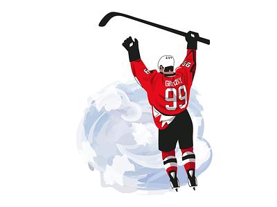 Wayne Gretzky hockey player wayne gretzky hockey sport adobe illustrator vector flat illustration art