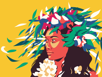 Tahiti summer tropic native flower tahiti girl character adobe illustrator colourful flat vector illustration art