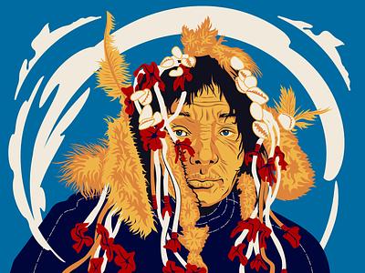 Shaman native shaman portrait character adobe illustrator colourful flat vector illustration art