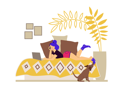 Freelancer with a dog remote work work from home dog cartoon flat illustration colourful character adobe illustrator vector flat art freelancer illustration