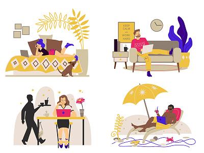 Freelancers remote work work at home cartoon freelance adobe illustrator colourful flat vector art illustration