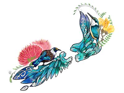 New Zealand realistic decorative flower bird vivid vibrant color new zealand tattoo design art illustration