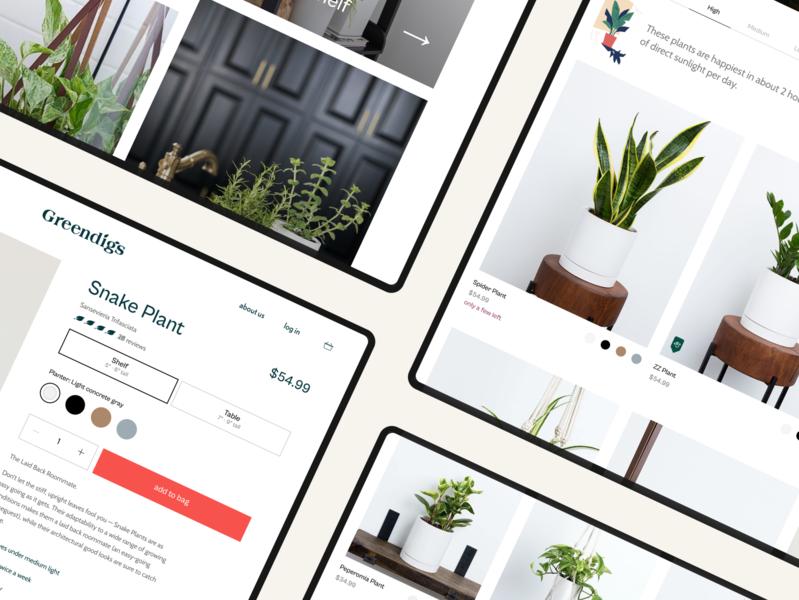 Greendigs web typography design plants ecommerce shopify