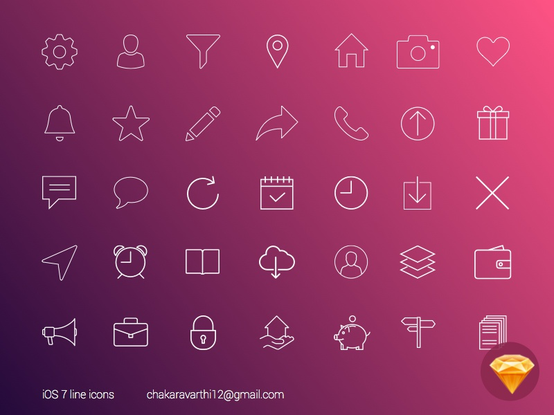 Sketch iOS7 line icons shapes psd free vectors ui and ux ios 7 download freebies sketch