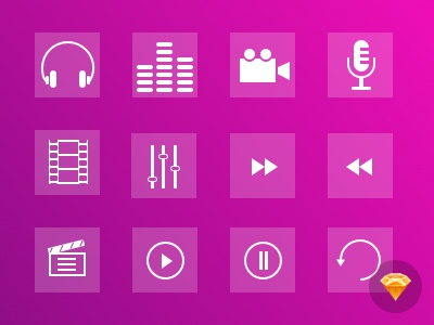 Multimedia Iconset icon flat vector free multimedia psd shape ios 7 download sketch