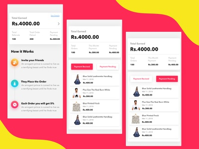 Refer and Earn money e-commerce products seller supplier ux ui dashboard