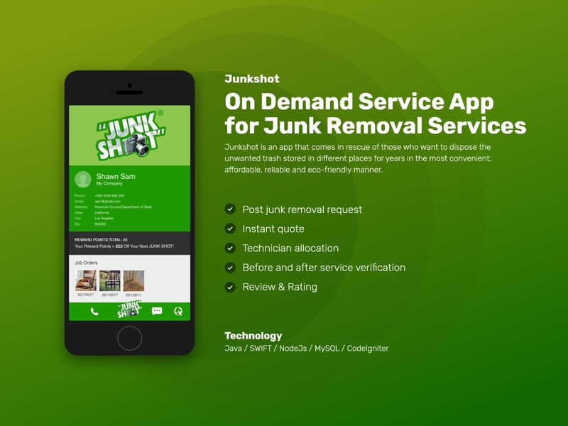 On Demand Service App for Junk Removal Services