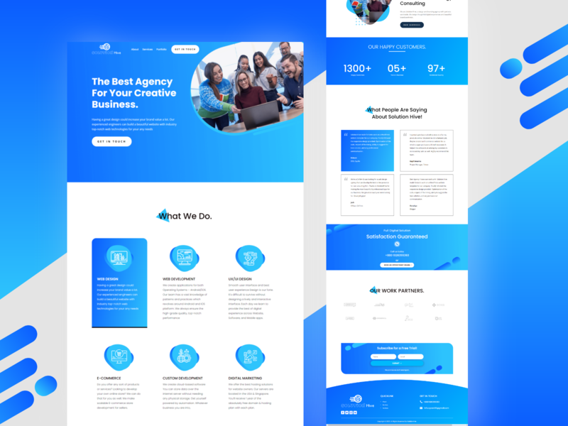 SolutionHive Digital Agency landing page design branding illustraion typography clean ui landing page wordpress wordpress development web ui design webdesign website design landing page design landingpage